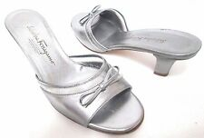 Salvatore Ferragamo silver leather jelly Bow sandals Italy Size Sz 7.5