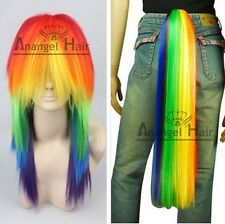 My Little Pony Rainbow Dash Multi Color Synthetic Cosplay Party Wig or Tail