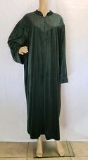 Vtg Royal Green Velour Robe Long Housecoat Plus Size 2X 3X Quilted 1/2 Zip Women