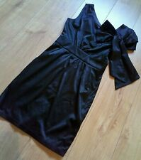 BNWT Heaven Black Satin Olivia One Shoulder Big Bow Dress Evening Party UK10