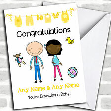 Cute Black Mum 2 Be Congratulations Expecting A Baby Pregnancy Customised Card
