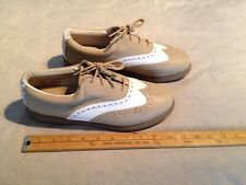 EASTLAND WOMEN'S LEATHER WINGTIP CLEATED GOLF SHOES US 10M BROWN/WHITE