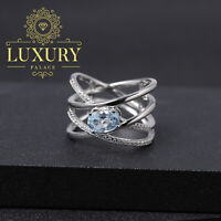 Natural Swiss Blue Topaz Solid 925 Sterling Silver Handmade Criss Cross Rings