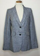 TOMMY HILFIGER Womens Two Button Plaid Linen Cotton Blue Jacket Blazer Size 6