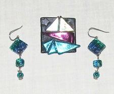 Brooch & Earrings Turquoise Purple Modern Design