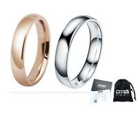 Coppia Fedine 4mm Acciaio Oro Rosa / Argento semplici incisione int fidanzamento