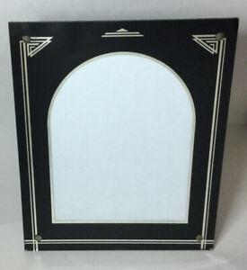 "Vintage Art Deco Reverse Painted Glass Black & Silver Picture Frame 12""x10"""