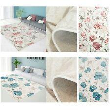 Teppich Modern Designer Wohnzimmer Impression Floral Pastel Pink Blau