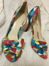 Nine West size 8 Fun Colourful fabri Camo Retro Prints Peep Toe High Heels shoes