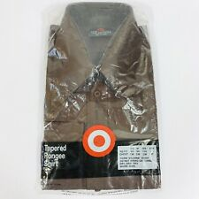 Vintage 70s Target Mens Shirt Brown Deadstock Disco Big Butterfly Collar