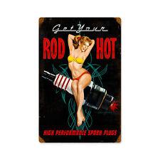 High Performance Hot Rod Spark Plugs Zündkerzen Pin Up Sign Blechschild Schild