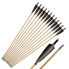 12pcs Handmade Wooden Arrow Black Shield Turkey Feather For Longbow Archery