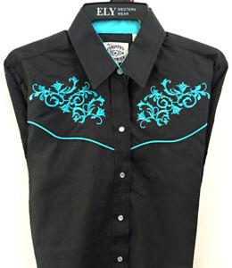 Ladies Ely Black Turquoise Scroll Womens Cowgirl Cowboy Shirt Barn Dance