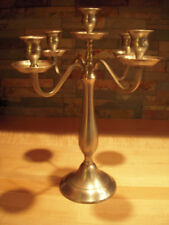 Pewter Silver Tone 5 Lite Arm Candleabra - 14 1/2-inches High