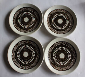 4x Biltons Staffordshire Dark Brown circular pattern Ironstone Side plate