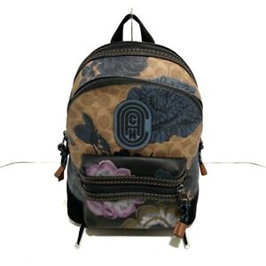 Auth COACH 78509 Khaki Navy Multi PVC Leather Suede Backpack