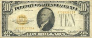 1928 $10 GOLD CERTIFICATE ~ BOLD BRIGHT NOTE PROBLEM-FREE GREAT EYE APPEAL