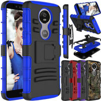 For Motorola Moto E5 Plus/ Supra Phone Case Hybrid Clip Holster Hard Stand Cover