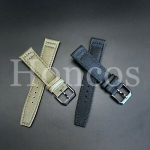 20mm 21mm 22mm nylon canvas black leather strap band for IWC Mark XVIII PILOT'S