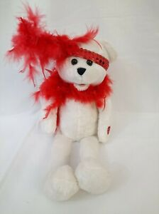 "PBC Chantilly Lane Musical Bear ""Roxie Bear"" with Red Boa 18"" Works"