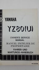 Yamaha Motorbike YZ80(U) Factory Owners Service Manual. 1st ed., June 1987