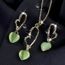 18k yellow gold gf crystal green jade heart stud earrings necklace set