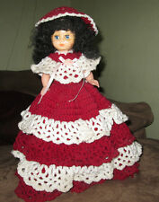 """Red and white hand made doll with a bottle for a base 16"""" high"""