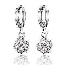"Zirconia ""Megic Ball"" Dangle Earrings,Z2095 Classic 9K White Gold Filled Cubic"