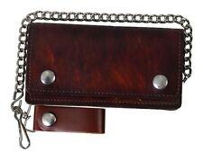 BIKER Geldbörse Portemonnaie antik braun Echt Leder Wallet Kette Harley Rocker