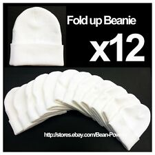 **WHITE** WHOLESALE LOT OF 12 PLAIN BLANK LONG FOLD UP BEANIE HATS