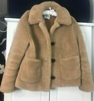 ZARA Tan Brown Faux Fur Teddy Fleece Coat jacket UK XS 6 8 Blogger fav winter