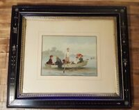 VERY NICE - Louis Prang Antique Original Color Chromolithograph - FAST! Boating