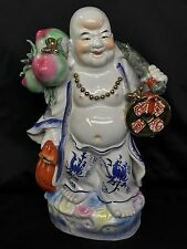 "Huge 16"" China Colour Porcelain Stand Happy Laugh Maitreya Buddha Wealth Statue"