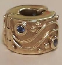 Genuine pandora Clip 14ct Gold With 4 Blue Sapphires Charm Babbling Brook