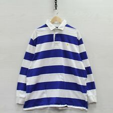 Vintage Polo Ralph Lauren Rugby Shirt Size XL Blue & White Striped Long Sleeve