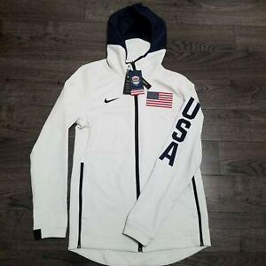 NIKE TEAM USA Basketball Therma Flex Showtime Hoodie Jacket Mens MEDIUM Olympic