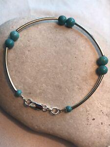 Genuine Turquoise Women Bracelet - 925 Sterling Silver - Gift Bag - Free UK P&P