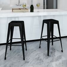 S# 2pc Bar Stool Steel Black Kitchen Chair Square 76cm Cafe Home Office Dining S