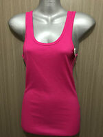BNWT Sz 12 Womens Rio Brand Cotton Blend Hot Pink Stretch Classic Singlet Top