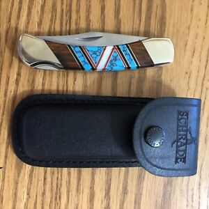Fixed Blade Inlaid Turquoise Jett Elk Ridge Knife Leather Sheath Navajo D.Yazzie