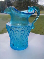 Kanawha Art Glass Blue Hand Blown Creamer/Pitcher w Applied Handle No Crackle