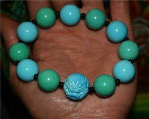 tibetan blue natural turquoise bracelet green mala genuine prayer beads pixiu