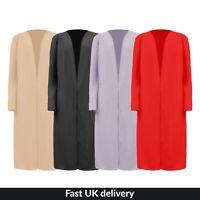 UK Womens Ladies Open Balloon Sleeve Casual Lounge Duster Jacket Coat