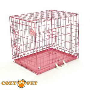 """Dog Cat Cage ByCozy Pet Puppy Crate Pink 24"""" Recovery Rest Transport"""