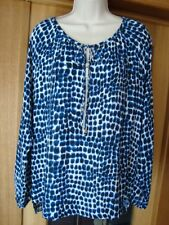 MICHAEL KORS AMALFI BLUE TUNIC ANIMAL PRINT L SLEEVE SCOOP NECK TIES ZIP 10 NWT