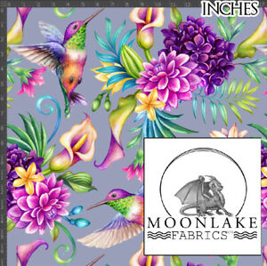 Hummingbird and Flowers 100% Quality Cotton Poplin Fabric