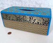 "TISSUE KLEENEX BOX Natural Reed Wicker Silk Elephant Design Blue Gold Black 10"""