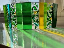 Beautiful large handmade fused glass abstract study in green