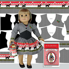 "Christmas Doll Clothes Kit 18"" Doll Panel Scotties Holiday Dress Jacket Panel"