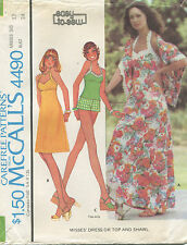 McCalls 4490 Vintage Misses 1975 Dress Top Shawl Sewing Pattern Uncut Size 12